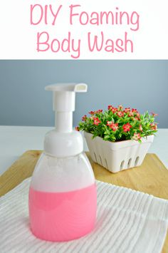 DIY Foaming Body Wash made with essential oils and natural ingredients. Non-toxic and you can customize the scent too! via @Mom4Real