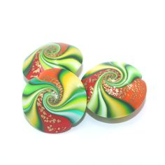 #clay #Fimo #beads #colorful #unique #rainbow #Handmade #swirl #ShuliDesigns #lentil Lentil beads Polymer Clay beads in greens red by ShuliDesigns, $12.00