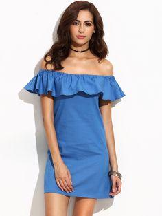Shop Blue Ruffle Off The Shoulder Dress online. SheIn offers Blue Ruffle Off  The Shoulder