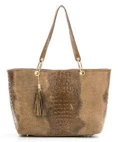 Look at this #zulilyfind! Taupe Faux Crocodile Leather Tote by Mila Blu #zulilyfinds