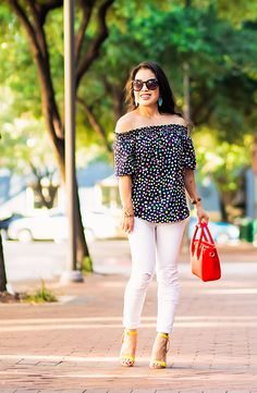 happy cat off shoulder top, white jeans, red nano celine, turquoise earrings   spring summer outfit