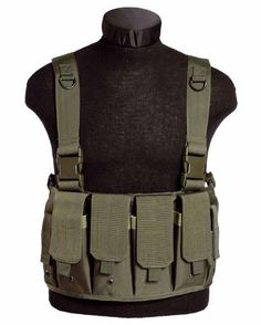 Miltec Tactical Magazine Carrier Chest Rig Olive Green or Black Army Shop, Chest Rig, Tactical Vest, Airsoft, Rigs, Sling Backpack, Alpha Group, Holsters, Tactical Gear