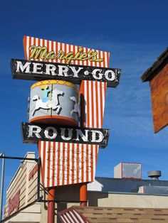 Margie's Merry-Go Round ~ Retro Neon Sign. The middle part does go in a circle, just like a merry-go round. Neat!!!
