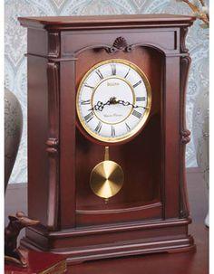 Abbeville Chiming Pendulum Mantel Clock By Bulova Walnut Finish Carved Case Desk