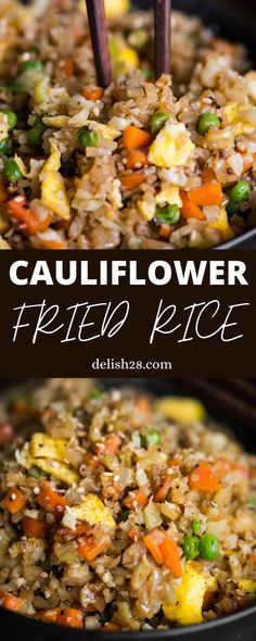 Fried Rice With Cauliflower, Califlower Fried Rice, Healthy Fried Rice, Fried Rice With Egg, Cauliflower Recipes, Rice Recipes, Low Carb Recipes, Vegetarian Recipes, Chicken Recipes