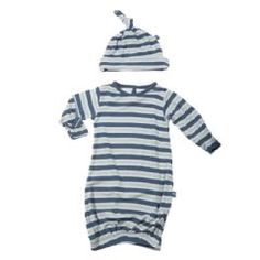 Print Layette Gown & Knot Hat Set in Twilight Stripe