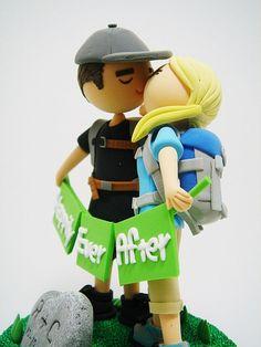 Avid hikers custom wedding cake topper by Clayphory on Etsy