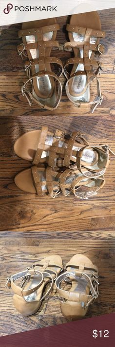 Tan Gladiator Sandals with Gold Stud embellishments Tan straps gladiator sandals with gold embellishments and gold studs Shoes Sandals