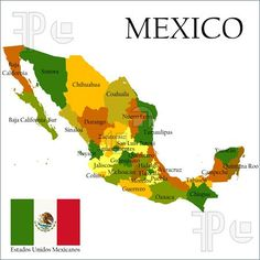 Mercator Map of Mexico & Flag (Indicating different States)