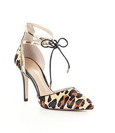 Gianni Bini Renell Leopard AnkleStrap PointedToe Pumps #Dillards