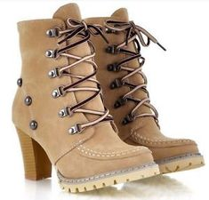 New womens lace up rivets ankle knight boots platform high heel shoes plus size