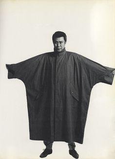Raincoat designed by Issey Miyake, modeled by Kabuki actor Kichiemon Nakamura