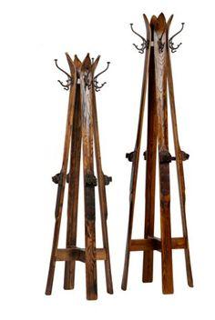 Repurposed vintage skis into coat rack Reclaimed Furniture, Repurposed Furniture, Diy Furniture, Ski Lodge Decor, Pub Stools, Vintage Ski, Barn Wood, Wood Projects, Skiing