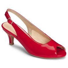 Aerosoles Red Faux Patent Escapade Dress Pump - Women's ($79) ❤ liked on Polyvore featuring shoes, pumps, red faux patent, peep-toe shoes, aerosoles pumps, aerosoles, dress pumps and red peep toe pumps