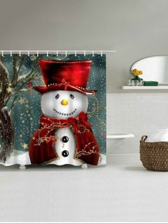 Christmas Snowman Bathroom Waterproof Shower Curtain