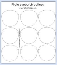 pirate eye patch outlines - role play printables                                                                                                                                                                                 More