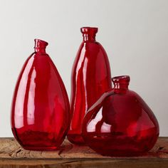 recycled glass morph vases by Shiraleah Bottles And Jars, Glass Bottles, Online Wedding Registry, Valentine Flower Arrangements, Glass Photography, Simply Red, Pots, Red Aesthetic, Recycled Glass