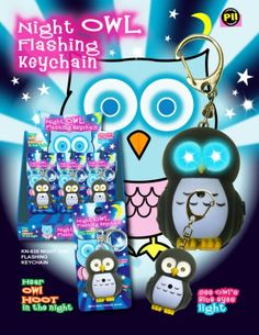 Night Owl Flashing Led Light Keychain with Hoot Sound Colors Will Vary