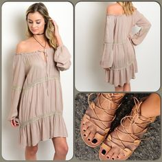 Boho Heaven Dress/2 left/5 ⭐️⭐️⭐️⭐️⭐️Rated This lightweight woven taupe color peasant dress features an on off shoulder design, long sleeves and a self tie neckline. Perfect spring/summer dress. 100% Rayon ❌Shoe pic for styling only ❌ (This closet does not trade or use PayPal) Kori Dresses Midi