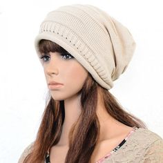 Women Fashion Stripe Wool Cap Knit Hat