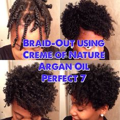 BIG Volumious Tapered Braid-Out using Creme of Nature Argan Oil Perfect 7