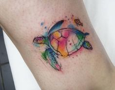 Colorful turtle tattoo by Josie Sexton, Middlesbrough, UK.