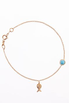 Bea Millen bracelet with 4mm turquoise and micropave fishy.  www.beamillen.com
