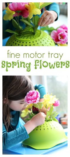Spring is a beautiful time for creative projects to work on with your kids. Here is a Spring flower fine motor tray activity for your preschooler.