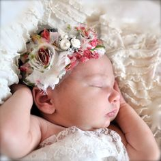 Cameo rose print baby stretch lace headband. by TutusChicBoutique