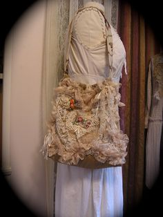 Ruffled Lace Bag, romantic victorian shabby and chic creme vintage doily pearl beads. $90.00, via Etsy.