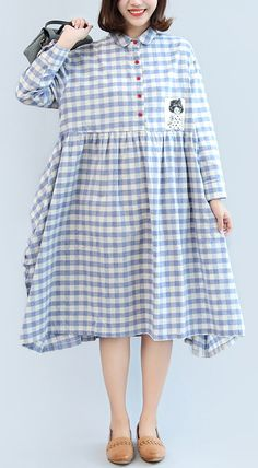 New blue white plaid long cotton dress trendy plus size long sleeve cotton maxi dress
