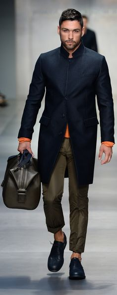 Navy Silk Coat with Nehru Collar by Ermanno Scervino. Men's Spring Summer Fashion. The traditional Nehru jacket has a stand up collar just like the one seen above. 3/28/15