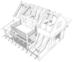 Looking for a timber frame garage with a living space above for your home. The Opossum Creek Garage will make a great first project for the DIY'er. Shed Plans, House Plans, Timber Frame Garage, Timber Frames, Second Story Deck, U Shaped Kitchen, Shed Roof, Covered Decks, Diy Pergola