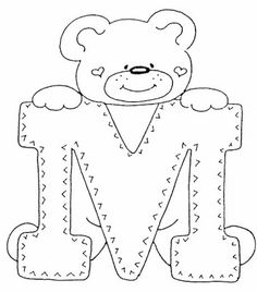 4 Modelos de Alfabeto Completo para Colorir e Imprimir - Online Cursos Gratuitos Teddy Bear Coloring Pages, Colouring Pages, Coloring Books, Felt Patterns, Applique Patterns, Patchwork Quilting, Coloring Letters, Alphabet Templates, Embroidery Alphabet