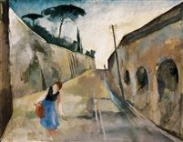 Via Aureliana 1929 Tempera on Canvas 71 x 92 cm