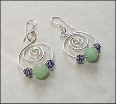 wire earring | Earrings,handmade,ooak,hoops,wire hand formed with minty green frosted ...