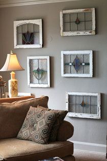 Beautiful stained glass. I love the old windows for frames and the great use of clear glass so that it can hang on the wall