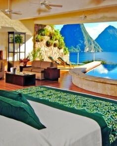 Jade Mountain, St. Lucia.  Each suite has a private infinity pool and a personal concierge is assigned to take care of each suite including arranging things like in-room spa treatments while in full view of iconic Piton views...if I were in a room like this, I would never leave either!! #Jetsetter #JSSpa  #Jetsetter