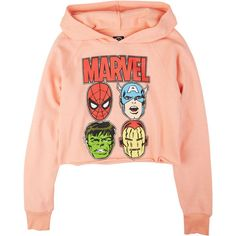 Marvel Hoodie ($14) ❤ liked on Polyvore featuring tops, hoodies, shirts, sweaters, sweatshirts & hoodies, hooded pullover, red shirt, red hoodie, hoodie top and red hooded sweatshirt