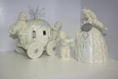"""'Have a Ball' 3 piece set of Cinderella Snowbabies Dept 56 figurines.Measurements are approx.  #1-Cinderella 7.5"""" x 4 1/4"""" x 4 1/4"""". #2-Snowbaby holding shoe 4"""". #3-Carriage 7"""" x 5"""" x 9"""" still has the plastic cap on pumpkin and stems are possible. Serial #7171/20,000. Celebrating 25 years from the Guest collection 7th guest. Manufactured in 2000.  ***There is glue showing between the back axle and carriage base, this is from the age and was manufactured this way.** $85.00 FREE SHIPPING"""