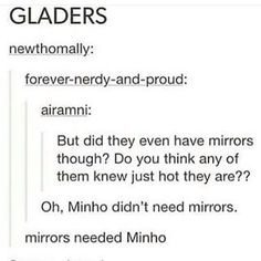 Because us ladies know Minho is fabulous. I swear he sneaks in hair gel somehow.