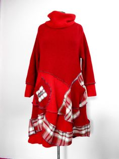 Upcycled Red Wool Tunic Dress / Recycled Sweater and Plaid