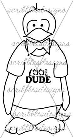 $3.00 Cool Dude Digital Stamp  (http://buyscribblesdesigns.blogspot.ca/2013/10/231-cool-dude-300.html) #digital stamps #digis #penguins #scribbles designs