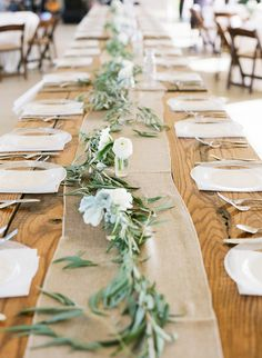 elegant white flower and olive branch wedding table garland. Thinking... Thicker garland greens with marsala flowers instead of white