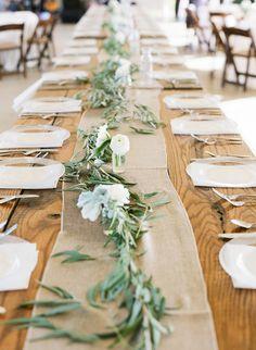 elegant white flower and olive branch wedding table garland