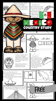 FREE Mexico Printables - Kids will be fascinated as they learn about the country of Mexico with these free printable Mexico for Kids books. Included are pictures to color and information about the culture, way of life and interests. These are a fanatic resource for kindergarteners, grade 1, grade 2, grade 3, and grade 4 students. Japan For Kids, Italy For Kids, Geography For Kids, Geography Activities, Teaching Kids, Kids Learning, Mexico For Kids, Around The World Crafts For Kids, Mexico Country