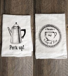 Tea & Coffee Tea Towel Set | This set of tea towels is screenprinted with some afternoon-te... | Kitchen Towels