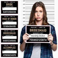 Bachelorette Mug Shot Signs and Height Backdrop - Girls Night Out, Bachelorette Party Games and Ideas, Photobooth Prop - 20 Signs and Height Chart Vegas Bachelorette, Bachlorette Party, Bachelorette Party Games, Mug Shot Sign, Adult Party Themes, Bridal Shower Party, Photo Booth, Marie, Team Bride