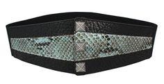 VANGLE - Genuine Python Leather - Made in Italy   Cintura con elastico realizzata in pelle di Vacchetta col. Nero e inserto in Pitone Reticolato col. Azzurro - n°3 borchie in Ottone