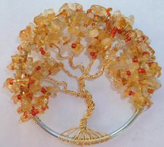 Autumn Tree of Life with Citrine Stones Hand made by BeadedTreeBee. My mom makes these. How cool are they?!